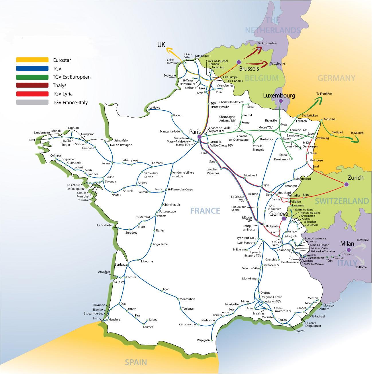 Карта железных дорог франции типы поездов время в пути от парижа
