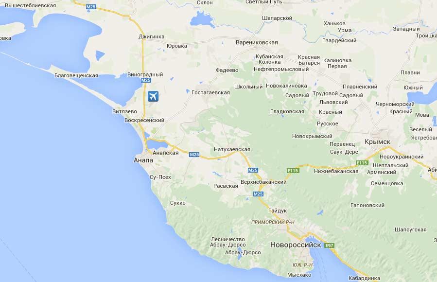состав карта автодороги новороссийск витязево аэропорт нас России