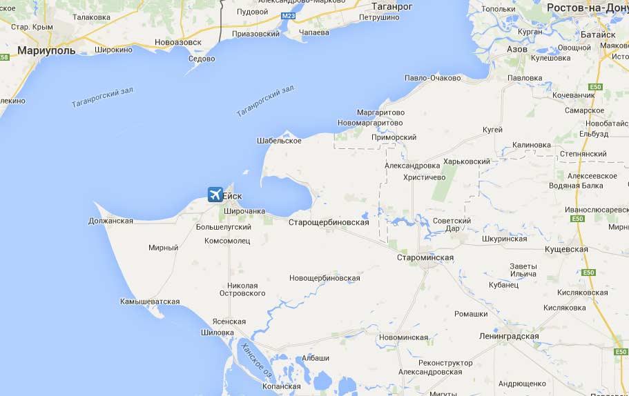 Карта азовского моря с населенными пунктами